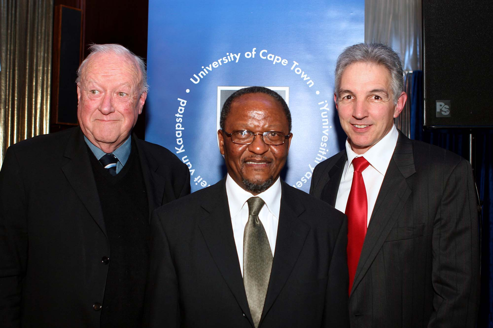 At the Students' Representative Council Centenary Dinner with Prof Njabulo S Ndebele and Dr Max Price in 2008.