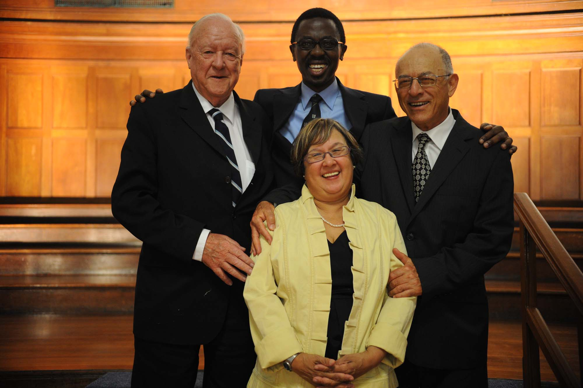 With the late Prof Bongani Mayosi (head of the Department of Medicine), Prof Solomon Benatar (former head of the Department of Medicine) and Prof Marian Jacobs (dean of the Faculty of Health Sciences) celebrating the 90th anniversary of UCT's Department of Medicine in February 2010.
