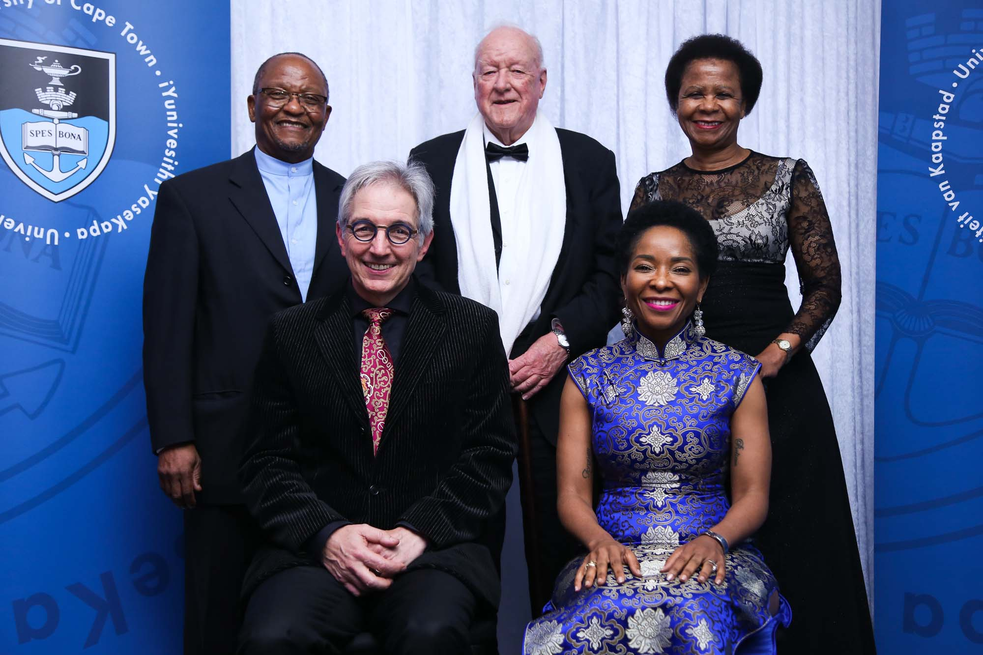 A farewell gala dinner at the V&A Waterfront for Dr Max Price saw five consecutive UCT vice-chancellors under the same roof: (from left) Prof Njabulo S Ndebele (2001–2008), Dr Max Price (2008–2018), Prof Stuart Saunders (1981–1996), Prof Mamokgethi Phakeng (2018–) and Dr Mamphela Ramphele (1997–2000).