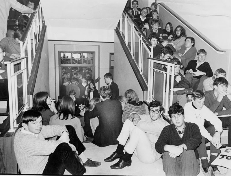 Students during their nine-day sit-in of Bremner building. They continued their studies, cooked communally on Primus stoves and left the building mainly to wash.