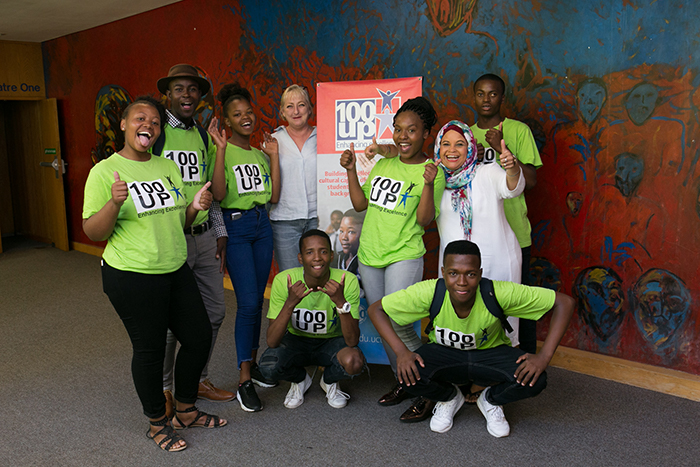 Medee Rall and Ferial Parker with some of the learners who attended courses from the 2018 Summer School as part of the 100UP programme.