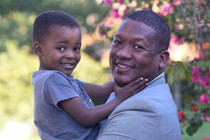 Aloy Gowneand his son Oratile