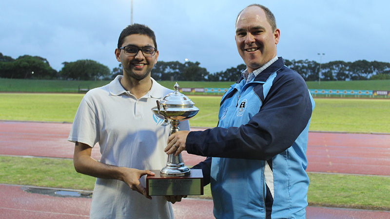 UCT Students Sports Union chair Ammar Canani (left) and sports coordinator Kerr Rogers with the winning trophy.