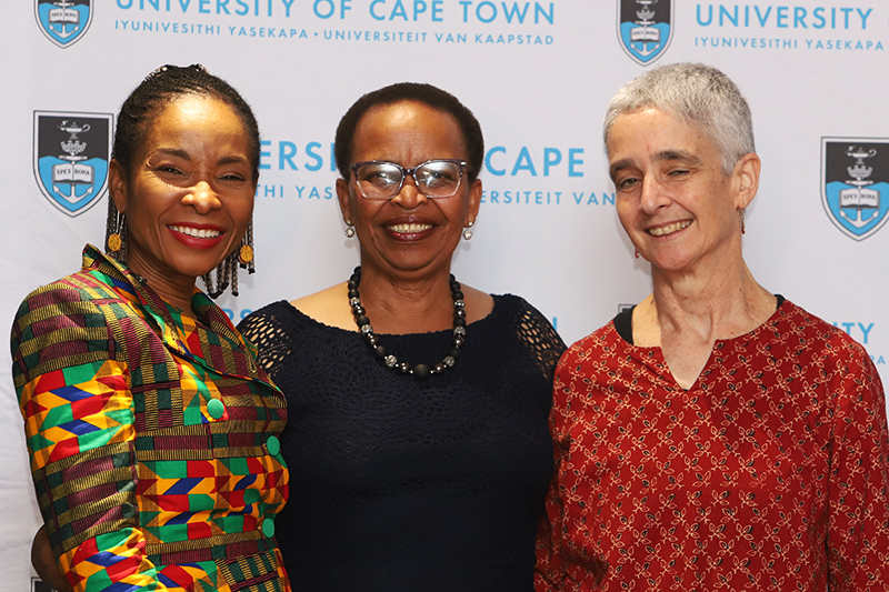 Sindiswa Ntshongwana with VC Prof Mamokgethi Phakeng and Deputy Chair of Council Debbie Budlender